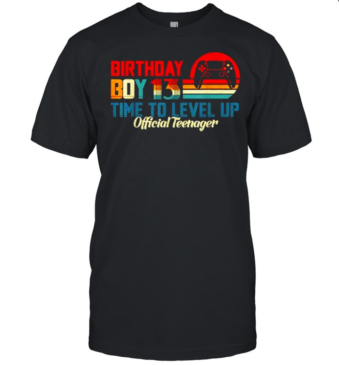 Birthday Boy 13 Time to Level Up Official Teenager Video Game Vintage Sunset T- Classic Men's T-shirt