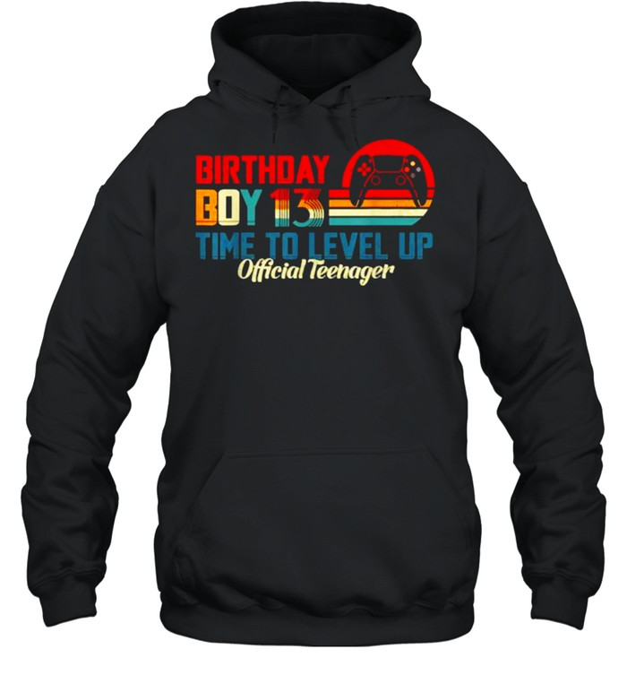 Birthday Boy 13 Time to Level Up Official Teenager Video Game Vintage Sunset T- Unisex Hoodie