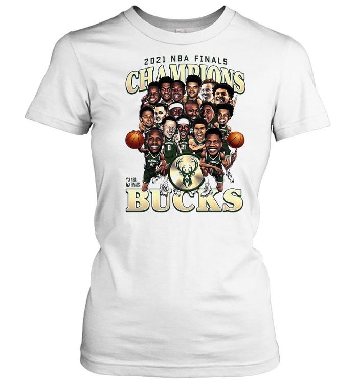 Meme Milwaukee Bucks 2021 NBA Finals Champions Team Caricature Roster shirt Classic Women's T-shirt