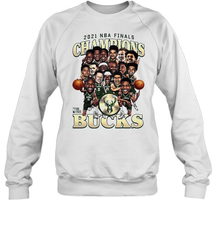 Meme Milwaukee Bucks 2021 NBA Finals Champions Team Caricature Roster shirt Unisex Sweatshirt