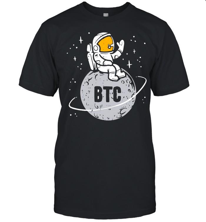 Astronaut Moon BTC Bitcoin Crypto Cryptocurrency T-shirt Classic Men's T-shirt