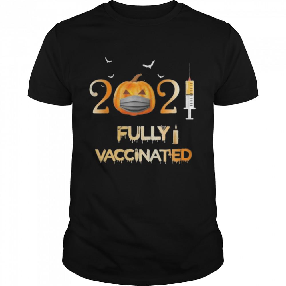 Vaccinated 2021 pumpkin face mask costume halloween shirt Classic Men's T-shirt
